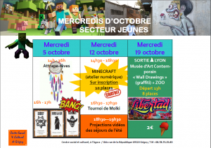 SECTEUR JEUNES: programmes mercredis d'octobre