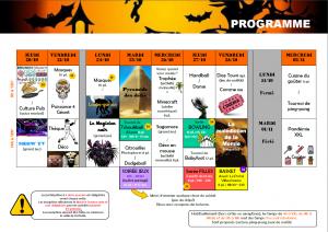 SECTEUR JEUNES: PROGRAMME VACANCES OCTOBRE 11 - 17 ANS
