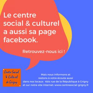 Le Centre social est sur facebook
