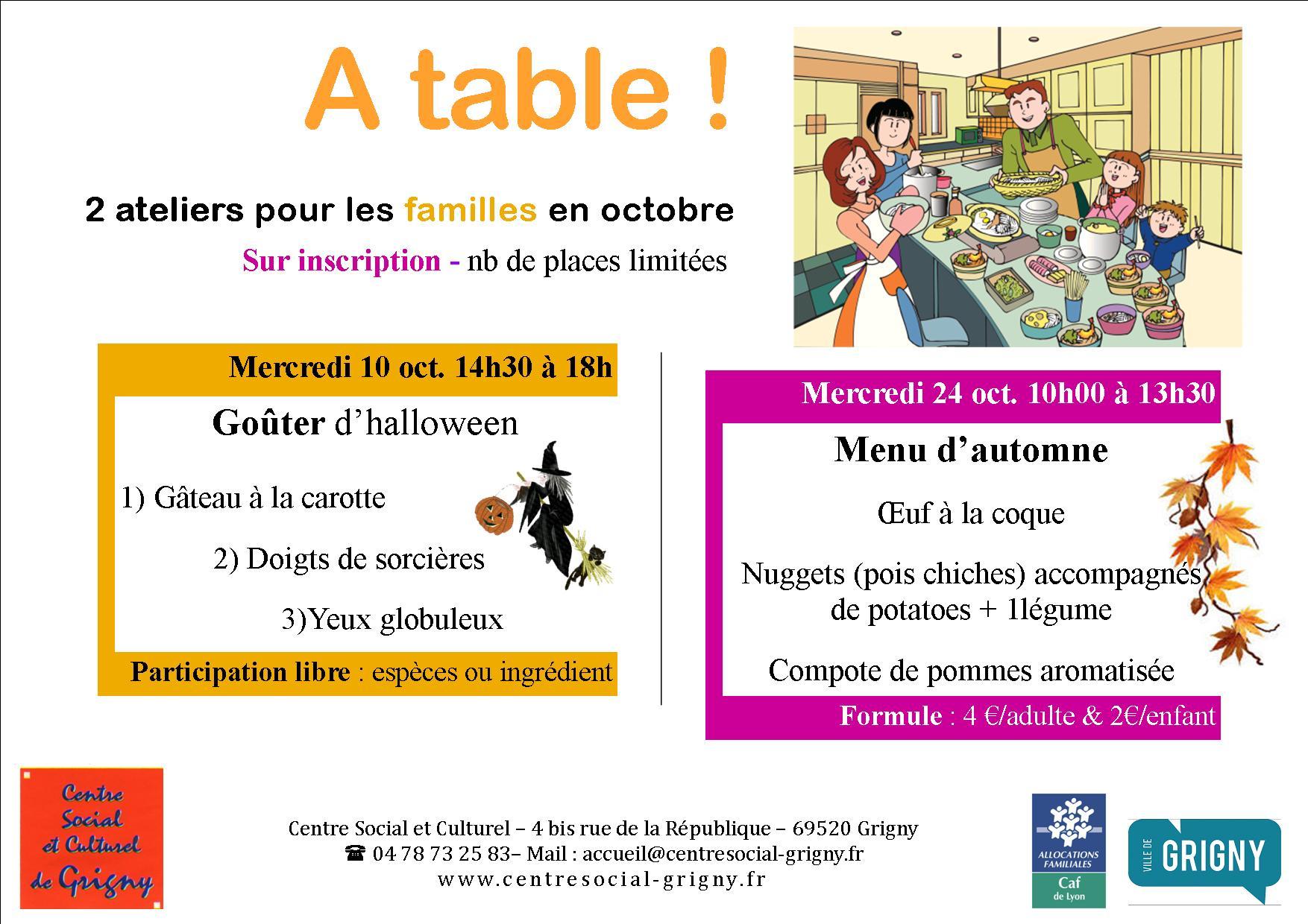 Cuisine en familles / Menu d'automne