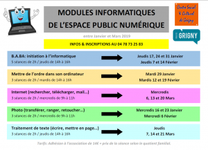 Nouveaux modules informatiques Janv-Mars 2019